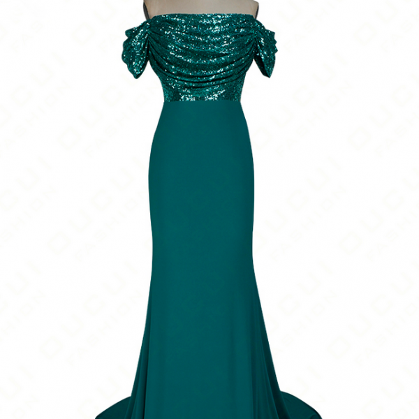 Off-the-Shoulder Sequin Beaded Mermaid Long Prom, Evening Dress Featuring V-Back