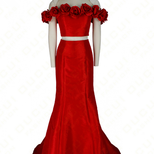 Real Photos Party Occasion Flower 2 Piece Red Dress Taffeta New Boat Neck Long Evening dress