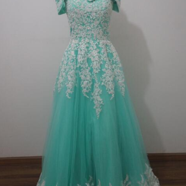 Real picture Saudi Arabia Dubai Long Evening Dress Appliques Cap Sleeve Prom Party Formal Gowns
