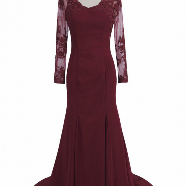 Elegant Burgundy Mermaid Evening Dresses Lace Long Sleeve Evening Gown Long Prom Gowns