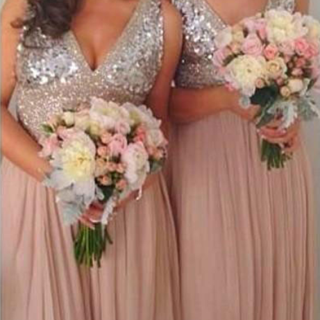 A-Line V-Neck Floor-Length Empire Pink Chiffon Bridesmaid Dress with Sequins