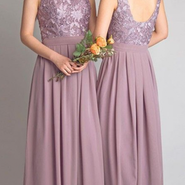 Lace Bodice Chiffon Bridesmaids Dresses,Custom Made Bridesmaid Dress,Lace Prom Dresses