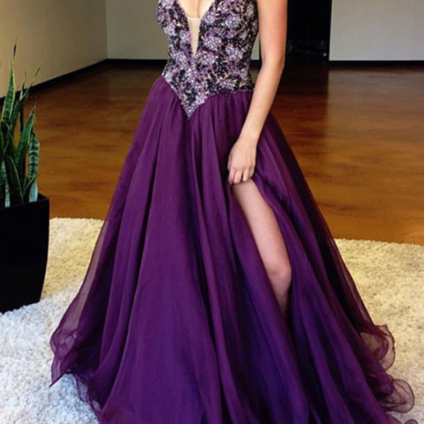 Sexy A Line Prom Dress with Slit, Evening Dresses, Formal Dresses, Graduation Party Dresses, Banquet Gown