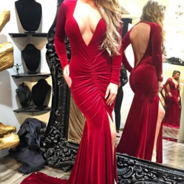 Deep V-neck Dark Red Formal Dress Long Sleeves Open Back Long Evening Dress Prom Dress