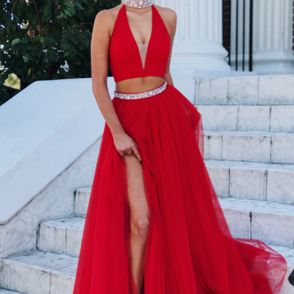 Gorgeous Two Piece Red Long Prom Dress Formal Dress With Slit