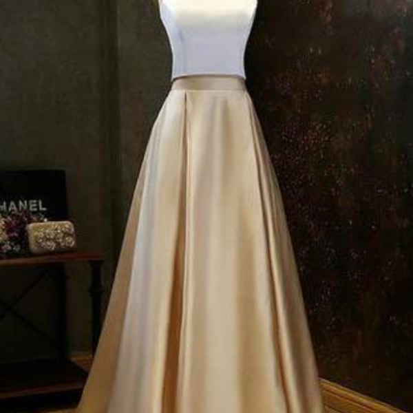 Simple Two-Piece Gold Halter Long Prom Evening Formal Dress