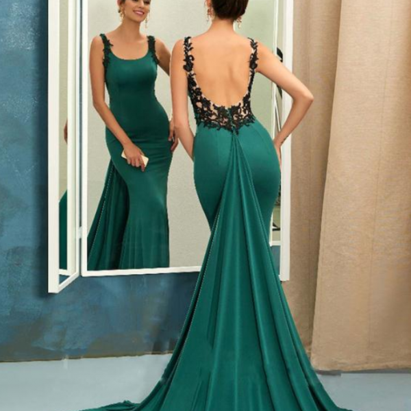 Turquoise Mermaid Evening Dress, Sexy Scoop Backless Prom Dresses Charming Special Occasion Gowns