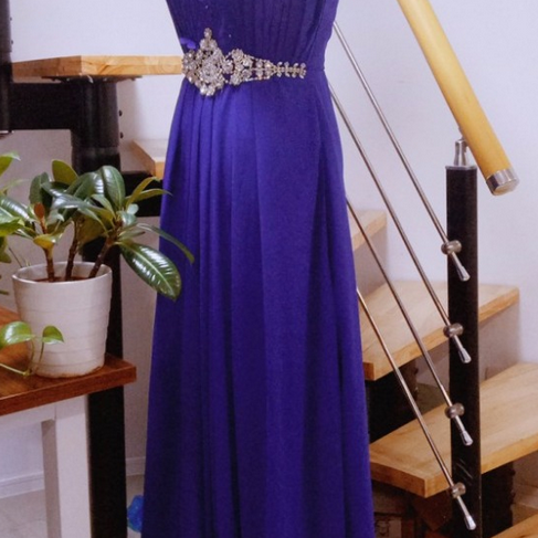 Real Photo royal blue A Line Long Prom Dresses,With little flower and crystal Belt Elegant Evening Dresses ,Important party Gowns