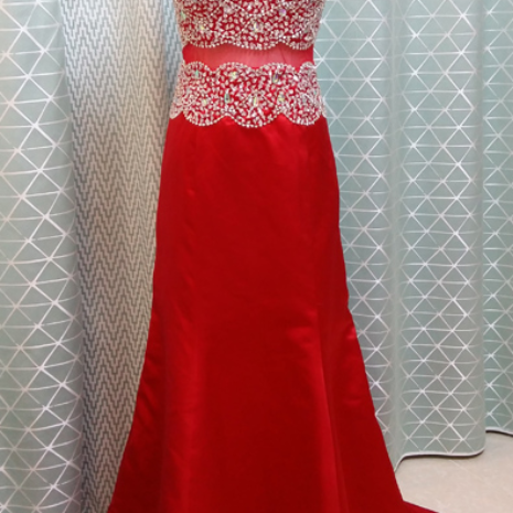 Charming Prom Dress,Beading Prom Dress,High-Neck Prom Dress,Satin Evening Dress