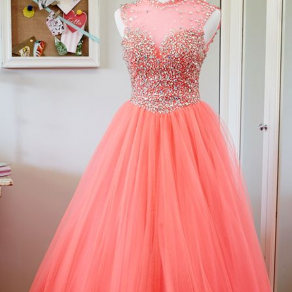 Beading Custom Made Prom Dresses, Floor-Length Evening Dress,Prom Dresses