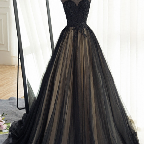Long Black Tulle Prom Dress,High Neck Banquet Dress,Lace Appliques Beads Prom Gowns,Custom Made Women Formal Party Dress,Court Train Evening Gowns