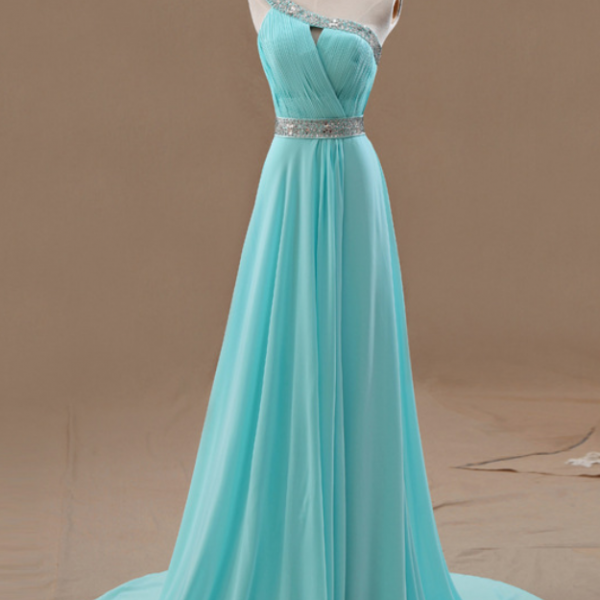 One Shoulder Prom Dresses,Beaded Evening Dress,Chiffon Prom Dress,Light Blue Prom Dresses,2017 Prom Gown,Elegant Prom Dress,Fashion Evening Gowns for Teens