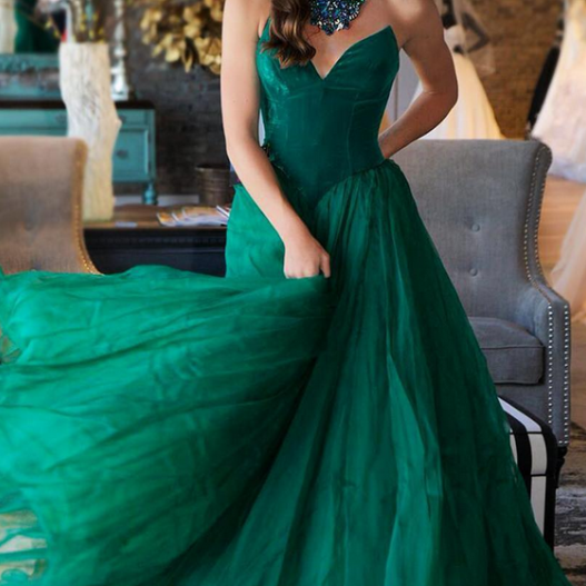 Green Tulle Prom Dresses Long A-line Evening Dresses Sweetheart Formal Pageant Gowns Sexy Party Graduation Dresses