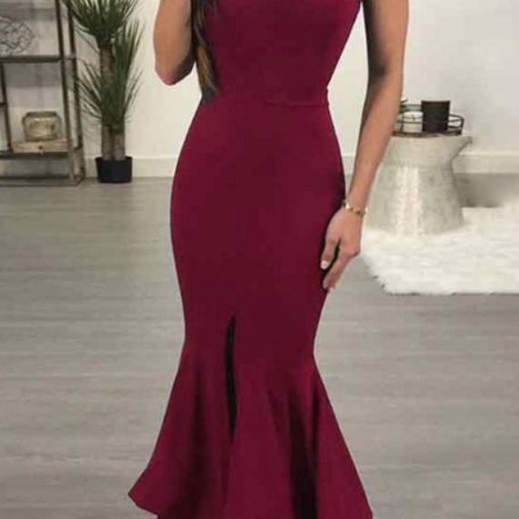 Burgundy Satin Prom Dresses Long Mermaid Evening Dresses Front Slit Formal Pageant Gowns Sexy Party Graduation Dresses