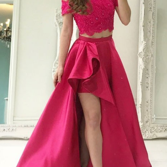 Fuchsia Satin Two Piece Prom Dresses Long A-line Top Lace Evening Dresses Off the Shoulder Formal Gowns Sexy Short Front Party Graduation Dresses for Teens