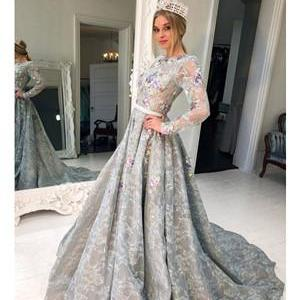 Long Sleeve Grey Lace Graduation Dresses for Junior Beaded Long Evening Prom Dress