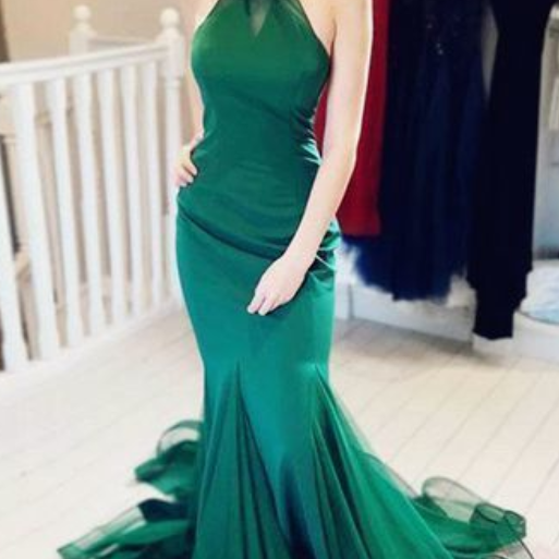 Mermaid ball gowns Jewel Beaded evening dress Green Long Prom Dress by prom dresses