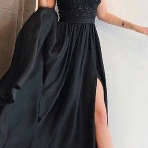 A-Line Spaghetti Straps Black Elastic Satin Prom Dress with Beading
