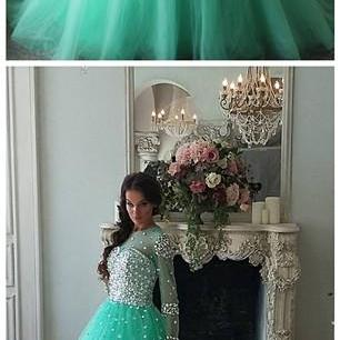 Mint Tulle Beaded Crystals Prom Dresses Long Sleeves Ball Evening Dresses O Neck Formal Gowns Sexy Party Pageant Dresses