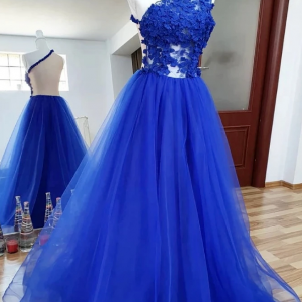 One Shoulder Backless Royal Blue Lace Long Prom Dress, Royal Blue Lace Formal Dress, Backless Royal Blue Evening Dress