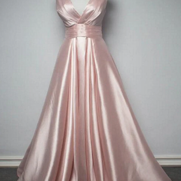 Satin V-Neckline Long Party Dress, New Prom Dress
