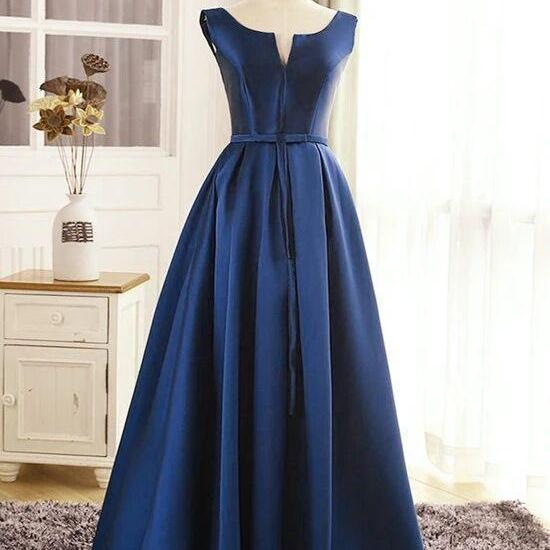 High Quality Satin Long Party Dress, Long Formal Dress