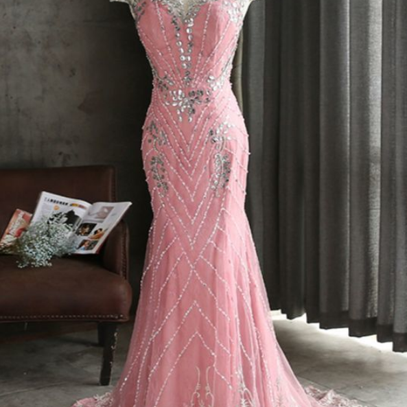 Pink tulle shinny beaded long mermaid evening dress