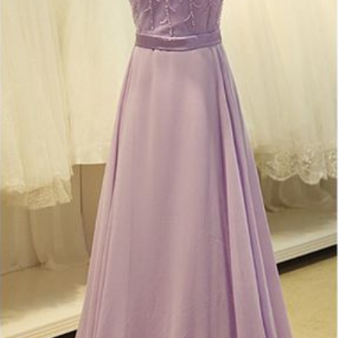 Cap Sleeve Light Purple Long Chiffon Prom Dress