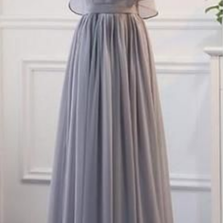 Grey Chiffon Simple Straps Floor Length Bridesmaid Dress, Beautiful Bridesmaid Dress, Party Dress