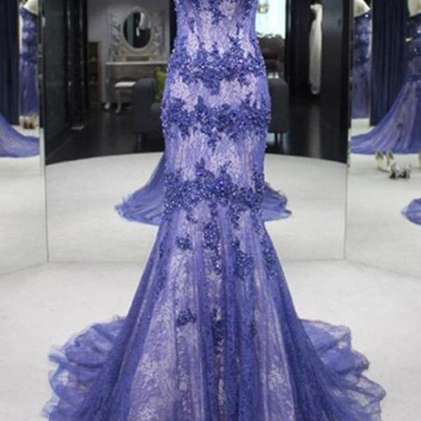 Lavander tulle lace applique sweetheart slim-line train long prom dresses ,evening dresses