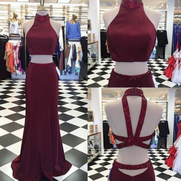 Sexy Two Piece Burgundy Long Prom Dress with Sequined