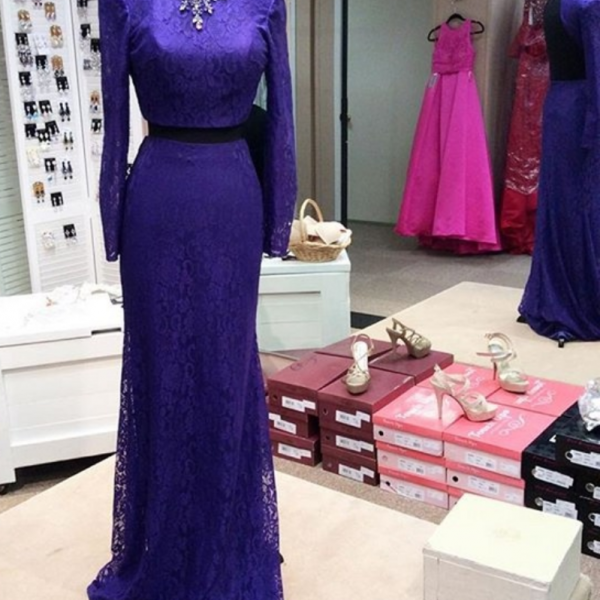 Custom Made Purple Prom Dress,Two Pieces Evening Dress,Beaded Party Gown,Long Sleeves Pegeant Dress, High Quality