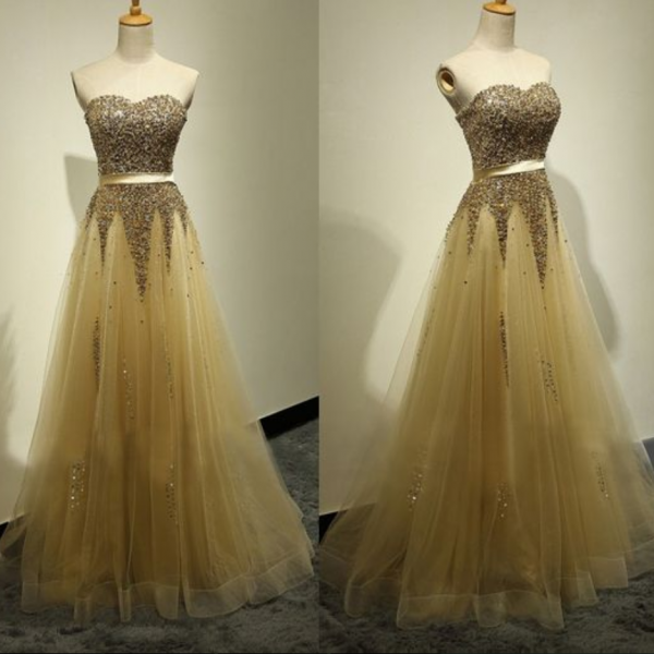 Custom Made Yellow Prom Dress,Sexy Sweetheart Evening Dress,Beading Party Gown,Floor Length Pegeant Dress, High Quality
