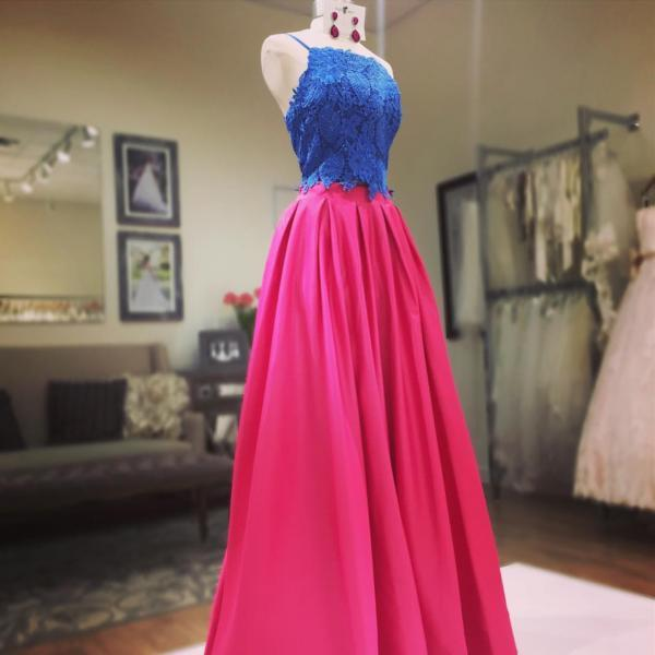 two piece prom dress,satin dress, 2 piece prom gowns,prom dresses lace crop top dresses