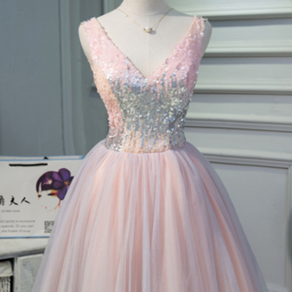 Pink tulle V neck short A-line prom dress, spring sequins short party dress