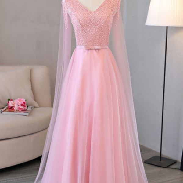 Pink V-neck long tulle beaded halter prom dress