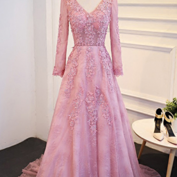 Pink lace V neck long senior prom dress with sleeves, long appliqués prom dress