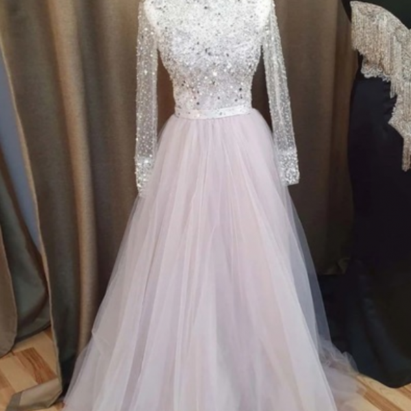 Pretty Light Gray Tulle Sequins Long Sleeve Formal Prom Dress, Evening Dress 2021