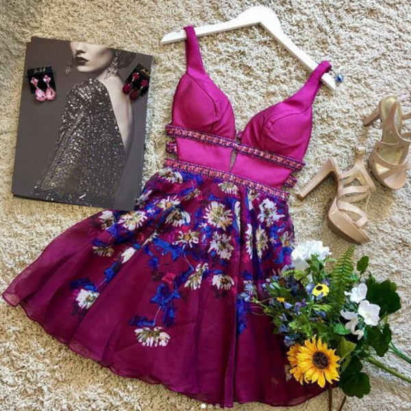 Ball Gown Fuchsia V Neck Floral Homecoming Dresses