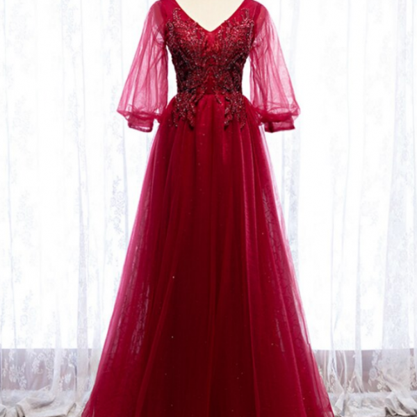 Burgundy Tulle V-neck Puff Sleeve Beading Prom Dress