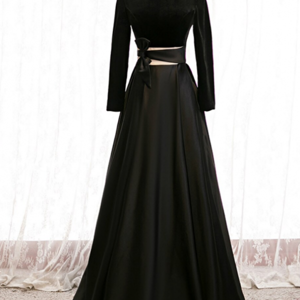 A-Line Black Satin High Neck Long Sleeve Prom Dress