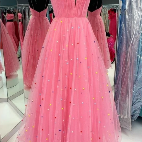 princess A-line long prom dress with colorful pearls