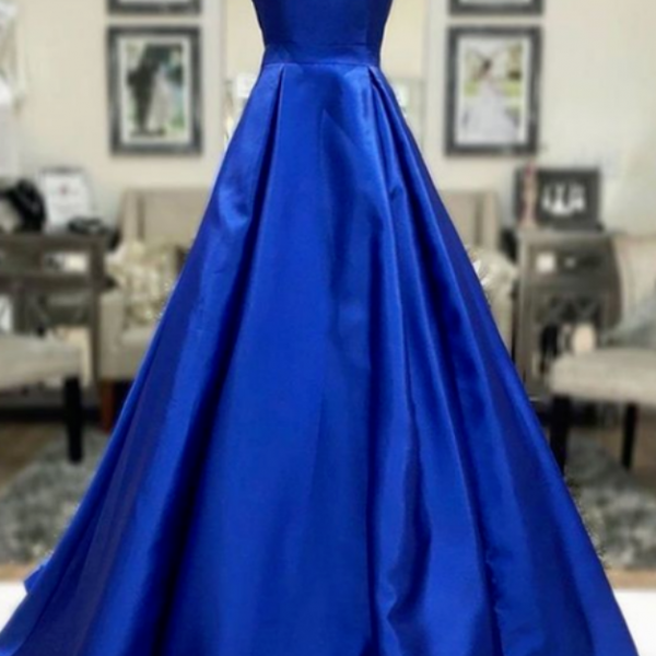 Simple A Line Royal Blue Satin Long Prom Dress, Royal Blue Formal Dress, Cheap Royal Blue Evening Dress