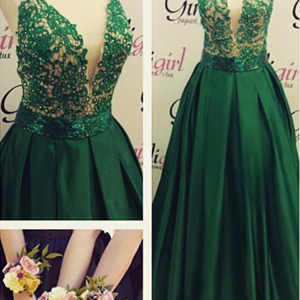 New Prom Gowns,Charming Evening Dress,Deep V Prom Dress, Sexy Prom Dress, Green Prom Dress, Beautiful Prom Dress, Spaghetti Straps Prom Dress, Lace With Satin Prom Dress, Long Prom Dress