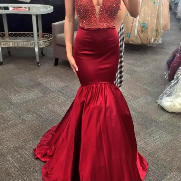 Sexy V-neck Red Beaded Prom Dresses, Long Mermaid Satin Prom Dresses, Newest Prom Dresses, Popular Prom Dresses, Cheap Prom Dresses
