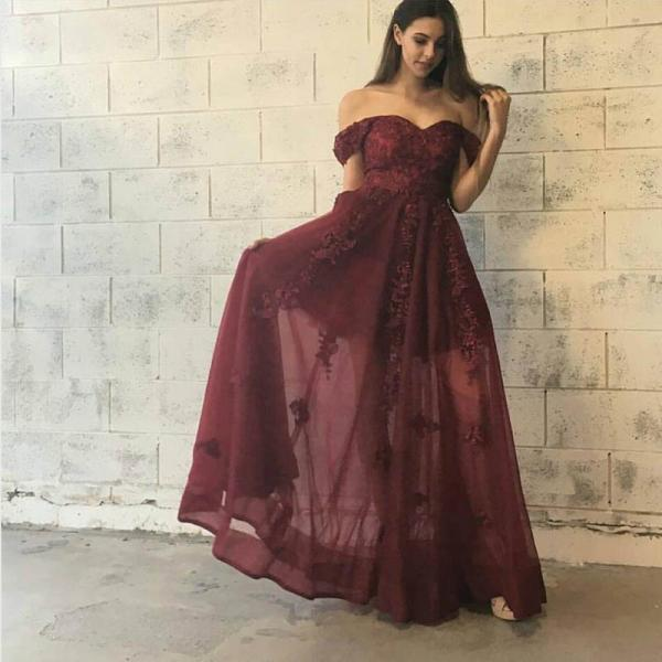 Off Shoulder Long A-line Prom Dresses, Brick Red Lace Tulle Lace Prom Dresses, Graduation Dresses, Popular Prom Dresses, Cheap Prom Dresses